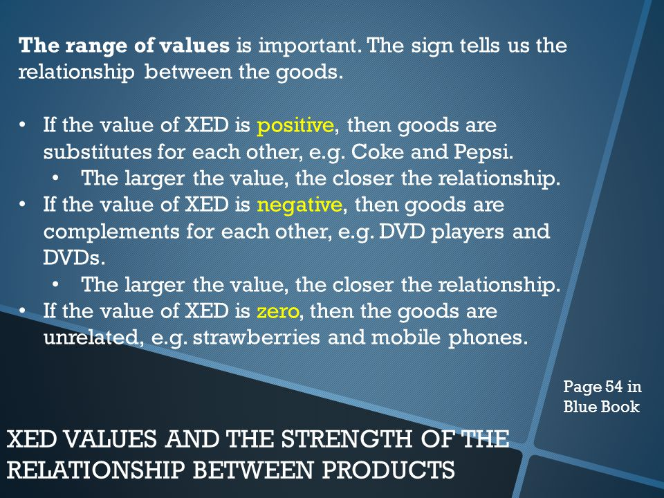 XED VALUES AND THE STRENGTH OF THE RELATIONSHIP BETWEEN PRODUCTS
