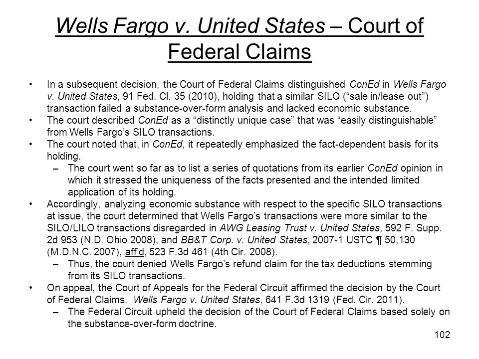 Wells Fargo v. United States – Court of Federal Claims