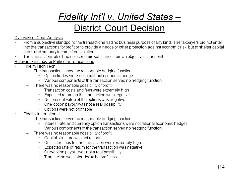 Fidelity Int'l v. United States – District Court Decision