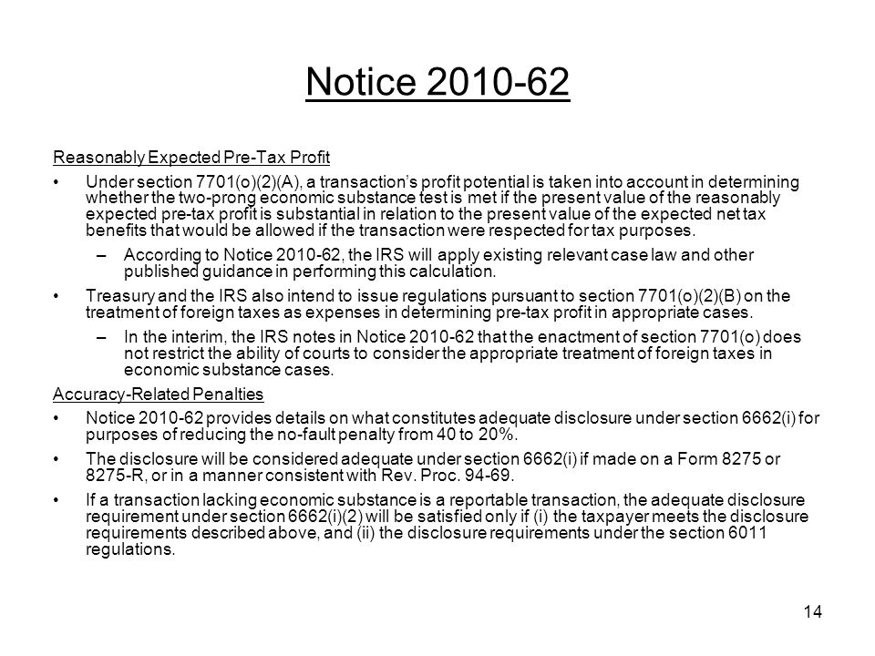 Notice 2010-62 Reasonably Expected Pre-Tax Profit