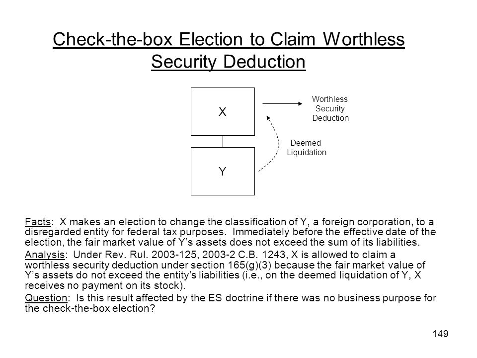 Check-the-box Election to Claim Worthless Security Deduction