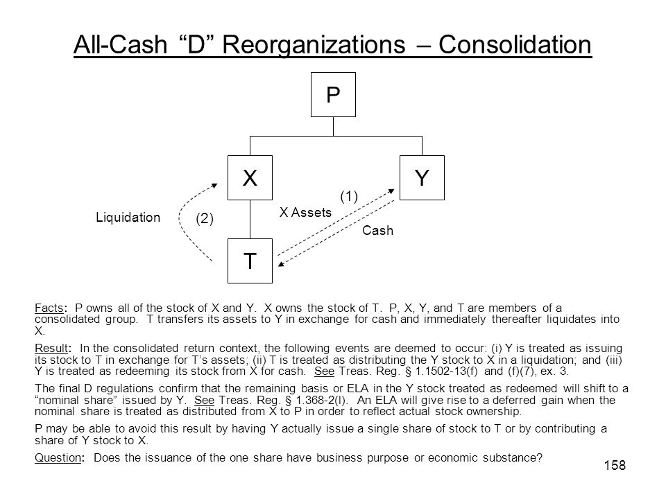 All-Cash D Reorganizations – Consolidation