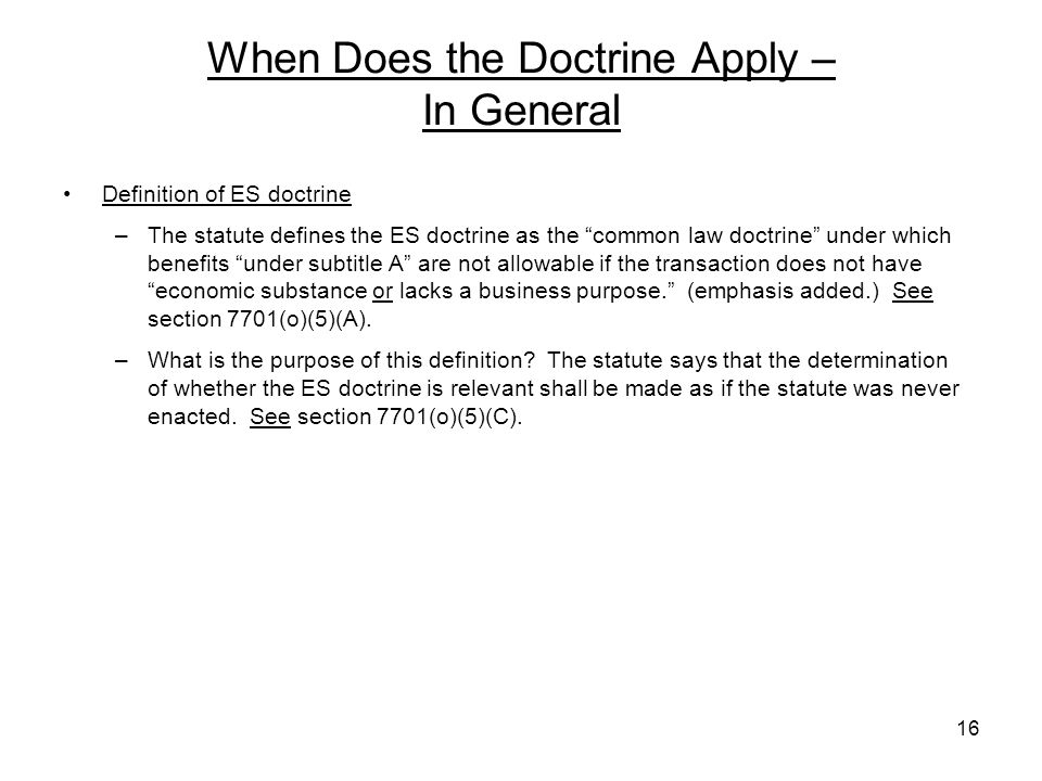 When Does the Doctrine Apply – In General
