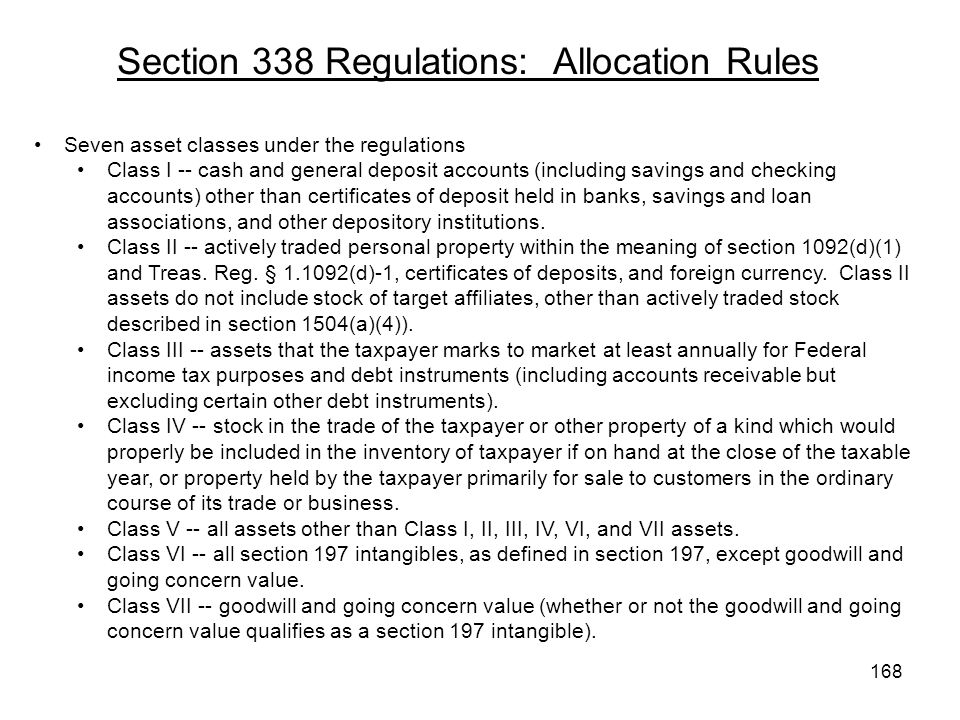 Section 338 Regulations: Allocation Rules