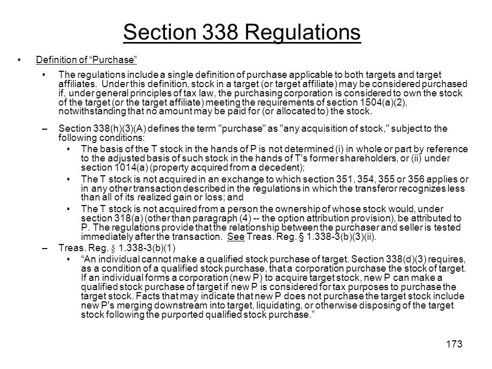 Section 338 Regulations Definition of Purchase