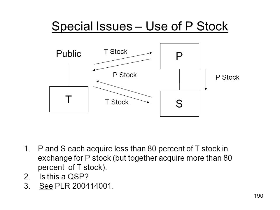 Special Issues – Use of P Stock