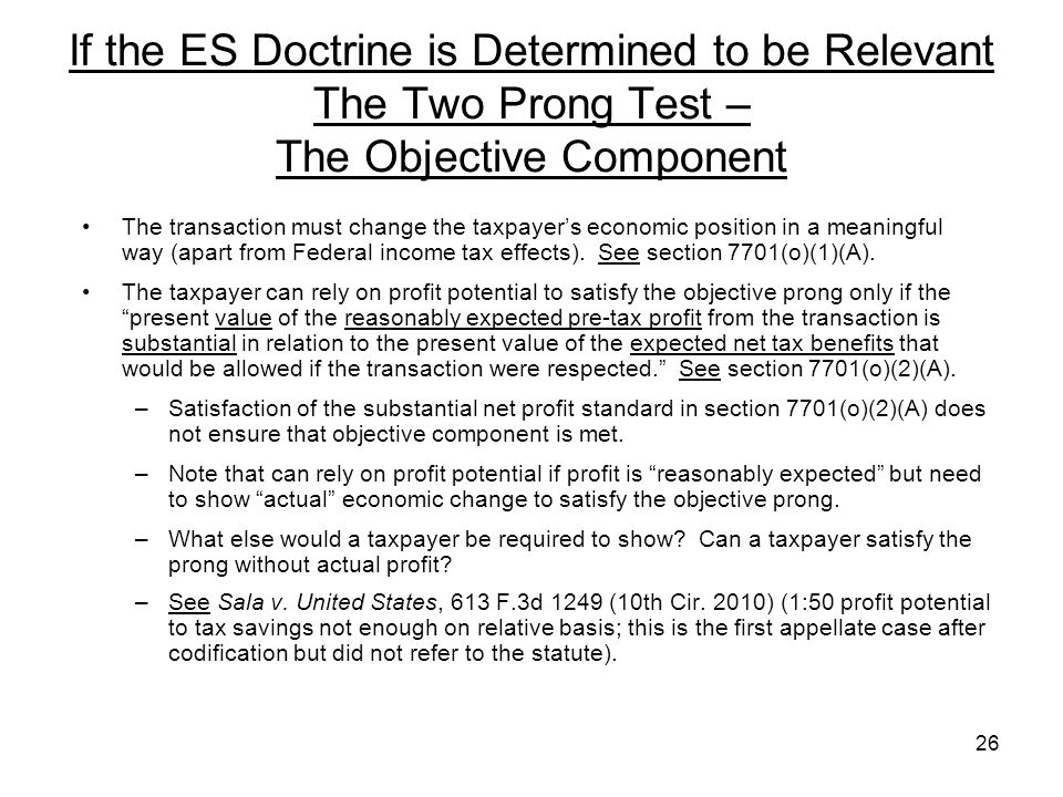 If the ES Doctrine is Determined to be Relevant The Two Prong Test – The Objective Component