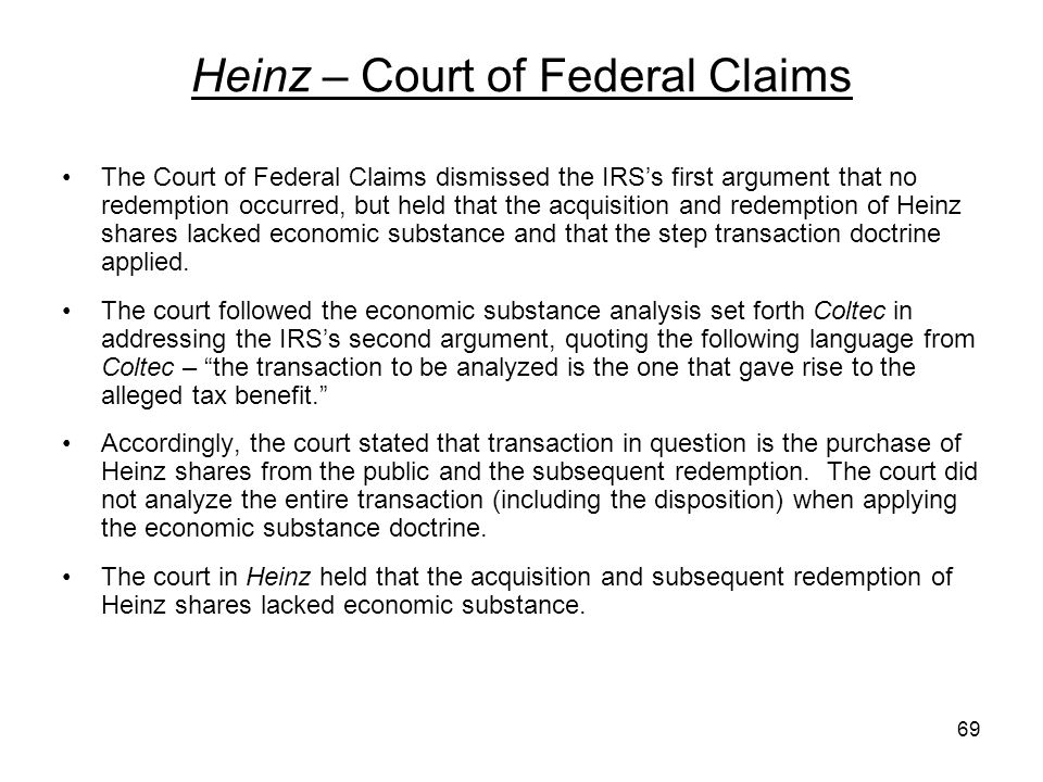 Heinz – Court of Federal Claims