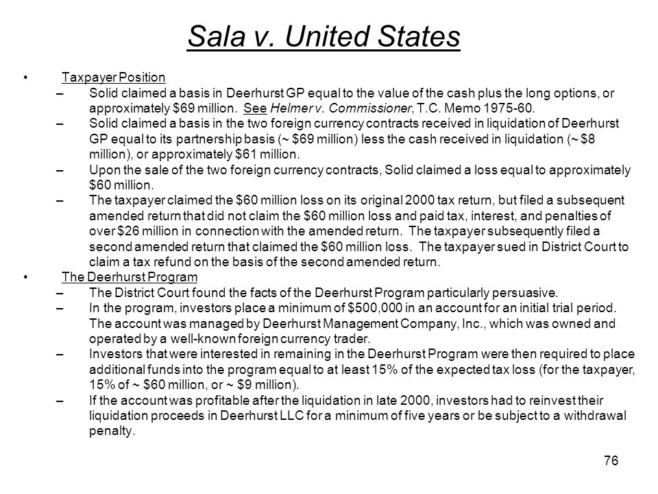 Sala v. United States Taxpayer Position