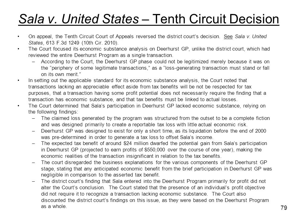 Sala v. United States – Tenth Circuit Decision