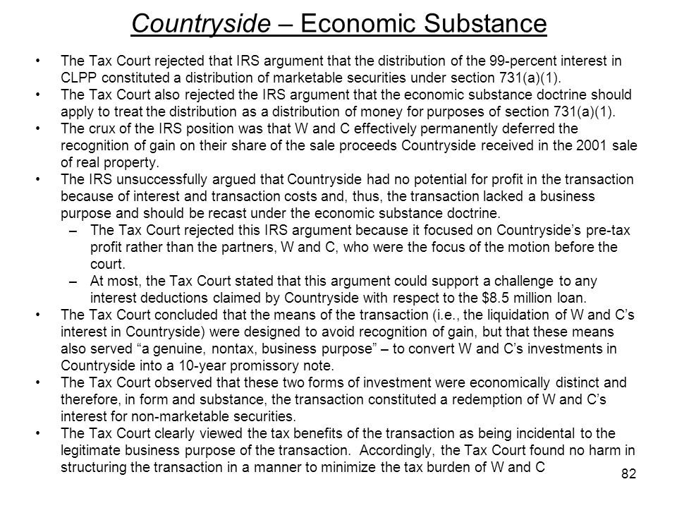 Countryside – Economic Substance