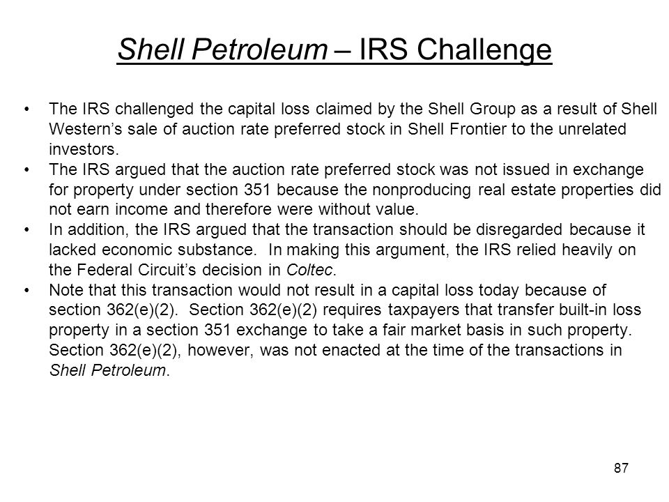 Shell Petroleum – IRS Challenge