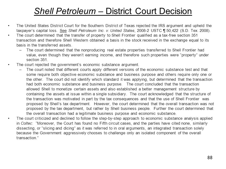 Shell Petroleum – District Court Decision