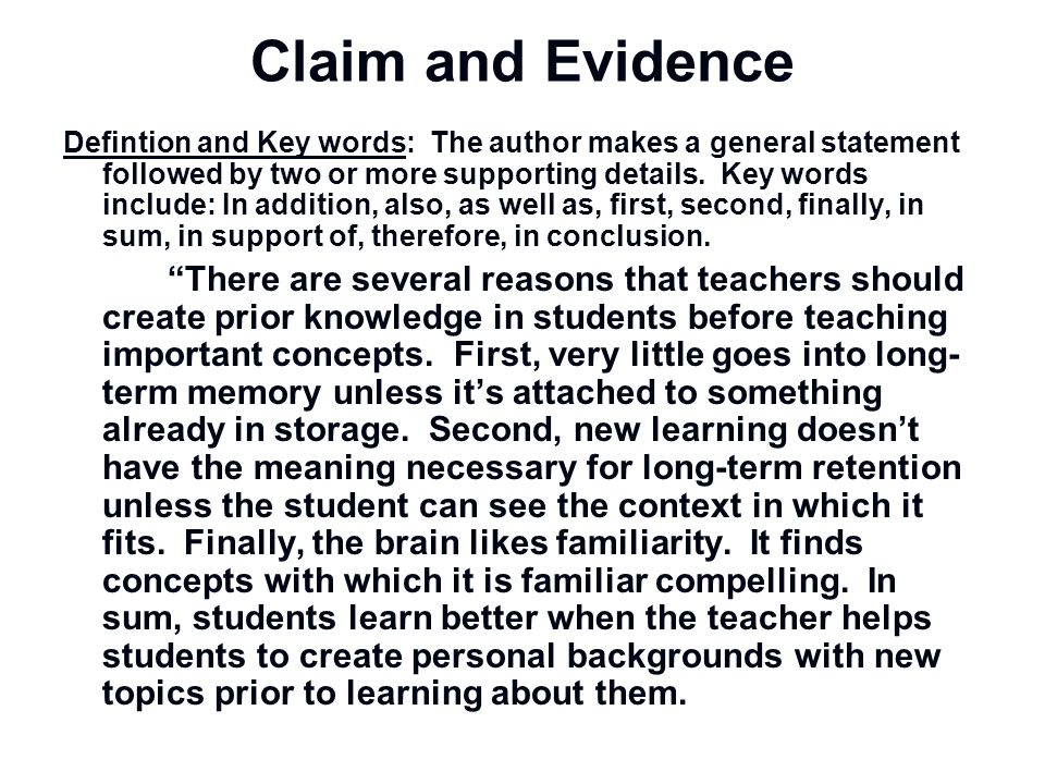 Claim and Evidence