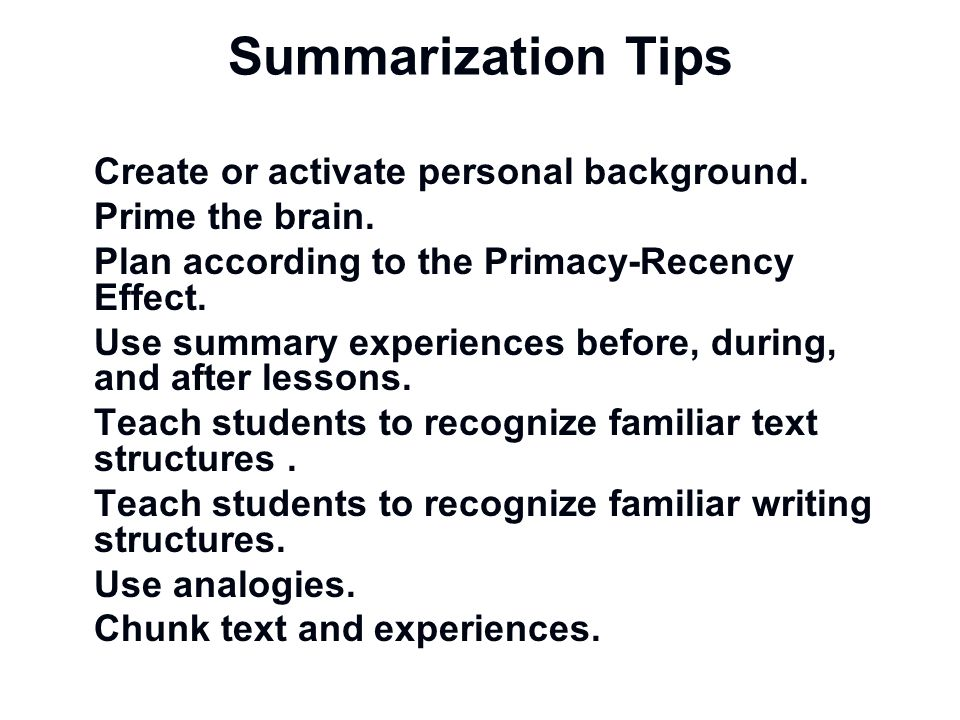 Summarization Tips Create or activate personal background.