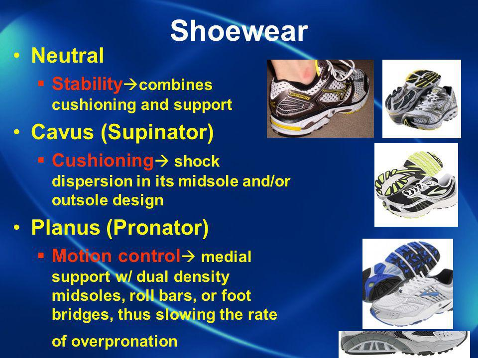 Shoewear Neutral Cavus (Supinator) Planus (Pronator)