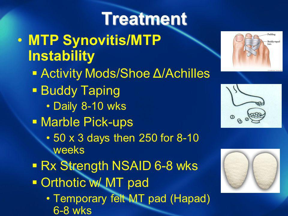 Treatment MTP Synovitis/MTP Instability Activity Mods/Shoe Δ/Achilles
