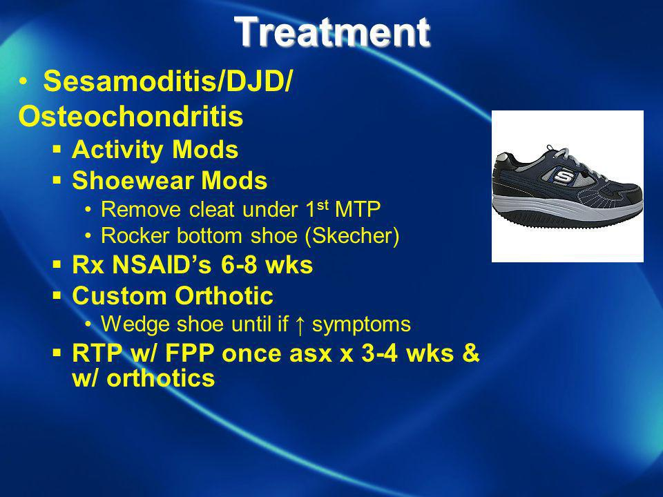 Treatment Sesamoditis/DJD/ Osteochondritis Activity Mods Shoewear Mods