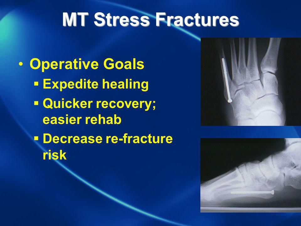 MT Stress Fractures Operative Goals Expedite healing