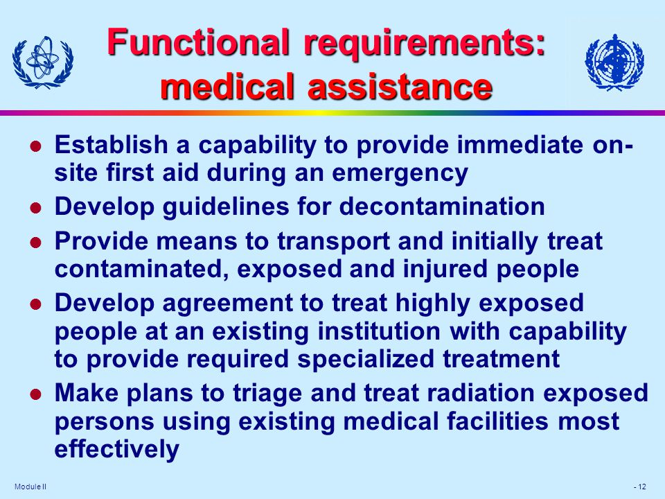 Functional requirements: medical assistance