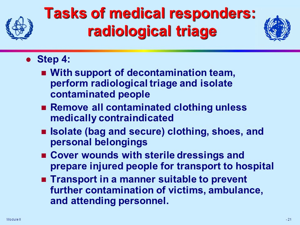 Tasks of medical responders: radiological triage