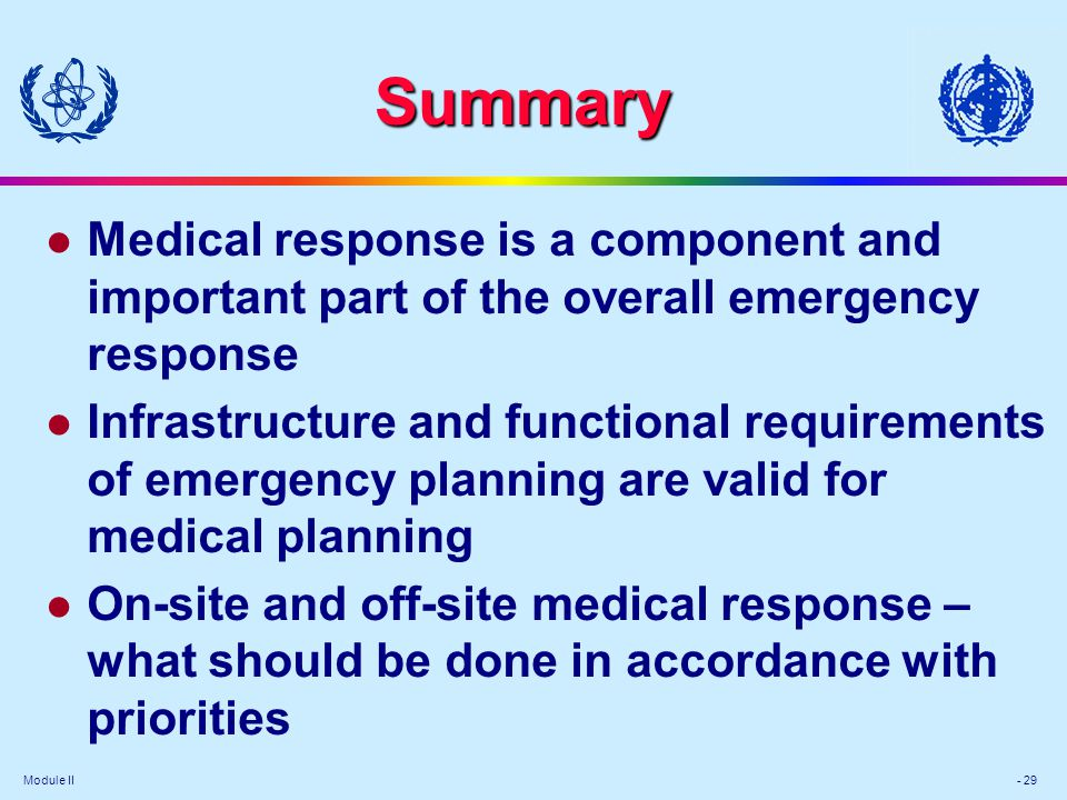 Module II: Medical Preparedness and Response in a Nuclear or Radiological Emergency