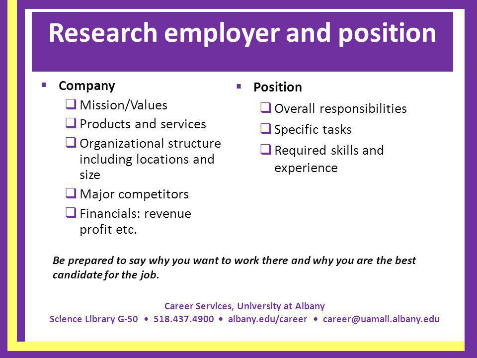 Research employer and position
