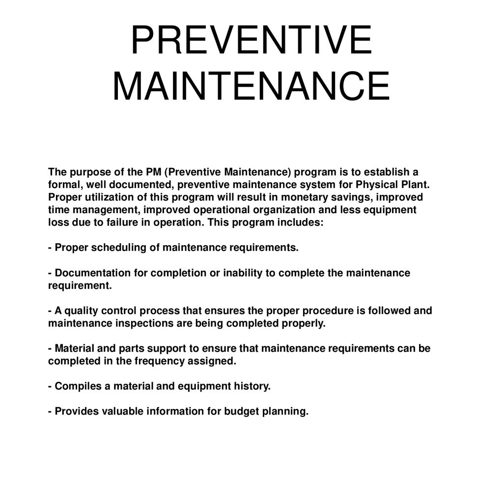 PREVENTIVE MAINTENANCE - ppt download