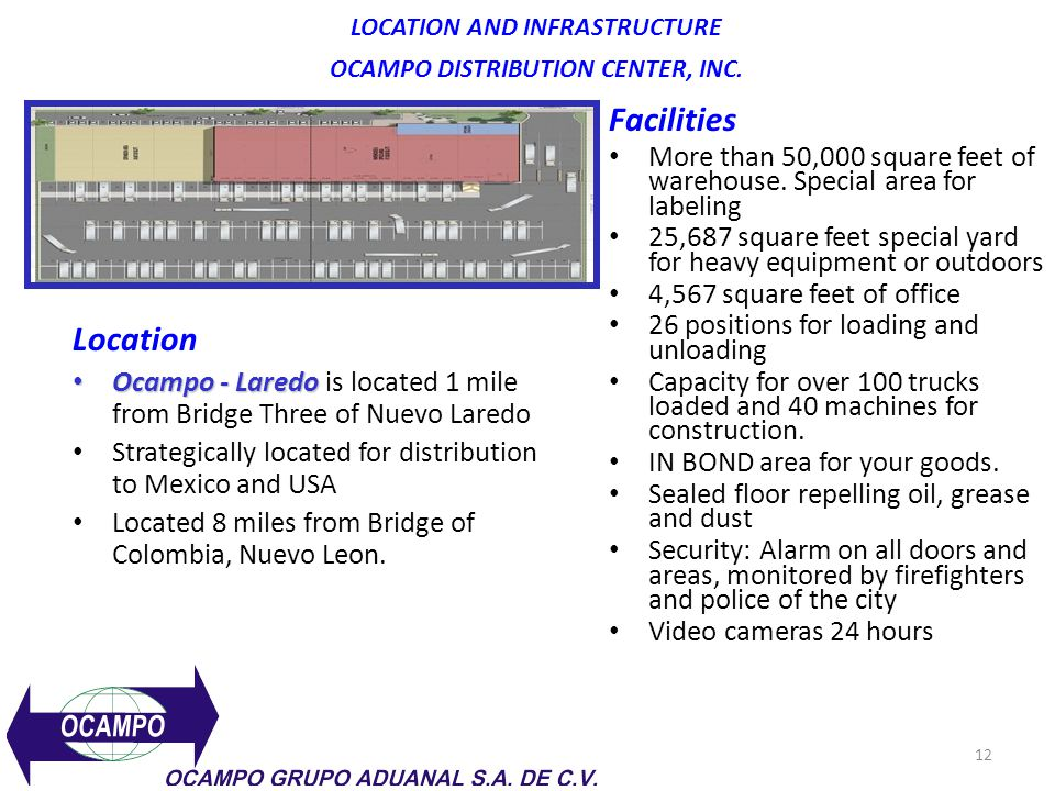 LOCATION AND INFRASTRUCTURE OCAMPO DISTRIBUTION CENTER, INC.