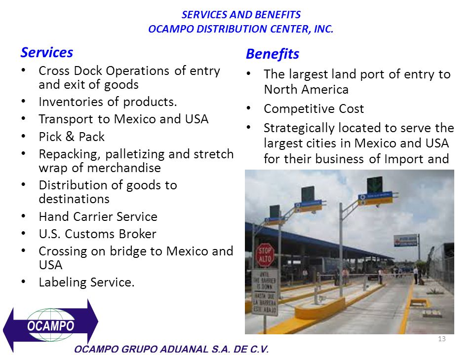 SERVICES AND BENEFITS OCAMPO DISTRIBUTION CENTER, INC.