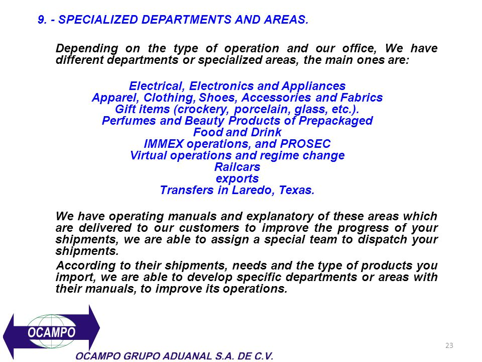 9. - SPECIALIZED DEPARTMENTS AND AREAS.