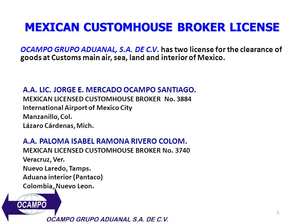 MEXICAN CUSTOMHOUSE BROKER LICENSE
