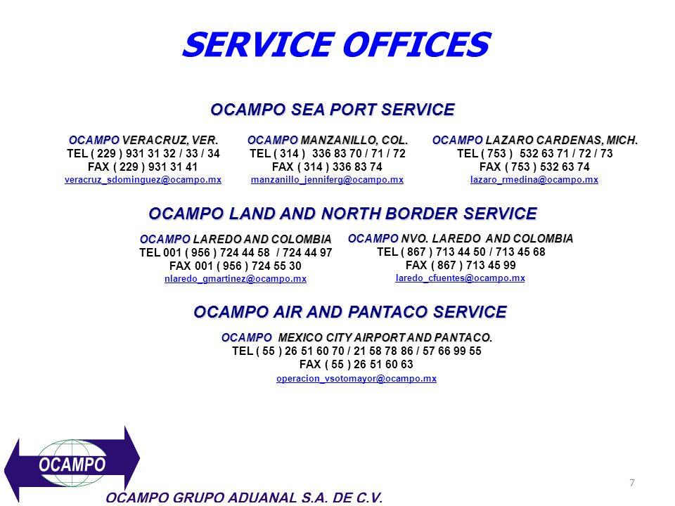 SERVICE OFFICES OCAMPO SEA PORT SERVICE