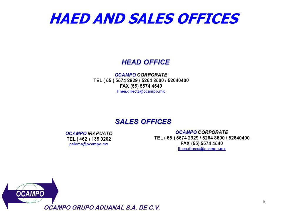 HAED AND SALES OFFICES HEAD OFFICE SALES OFFICES OCAMPO CORPORATE