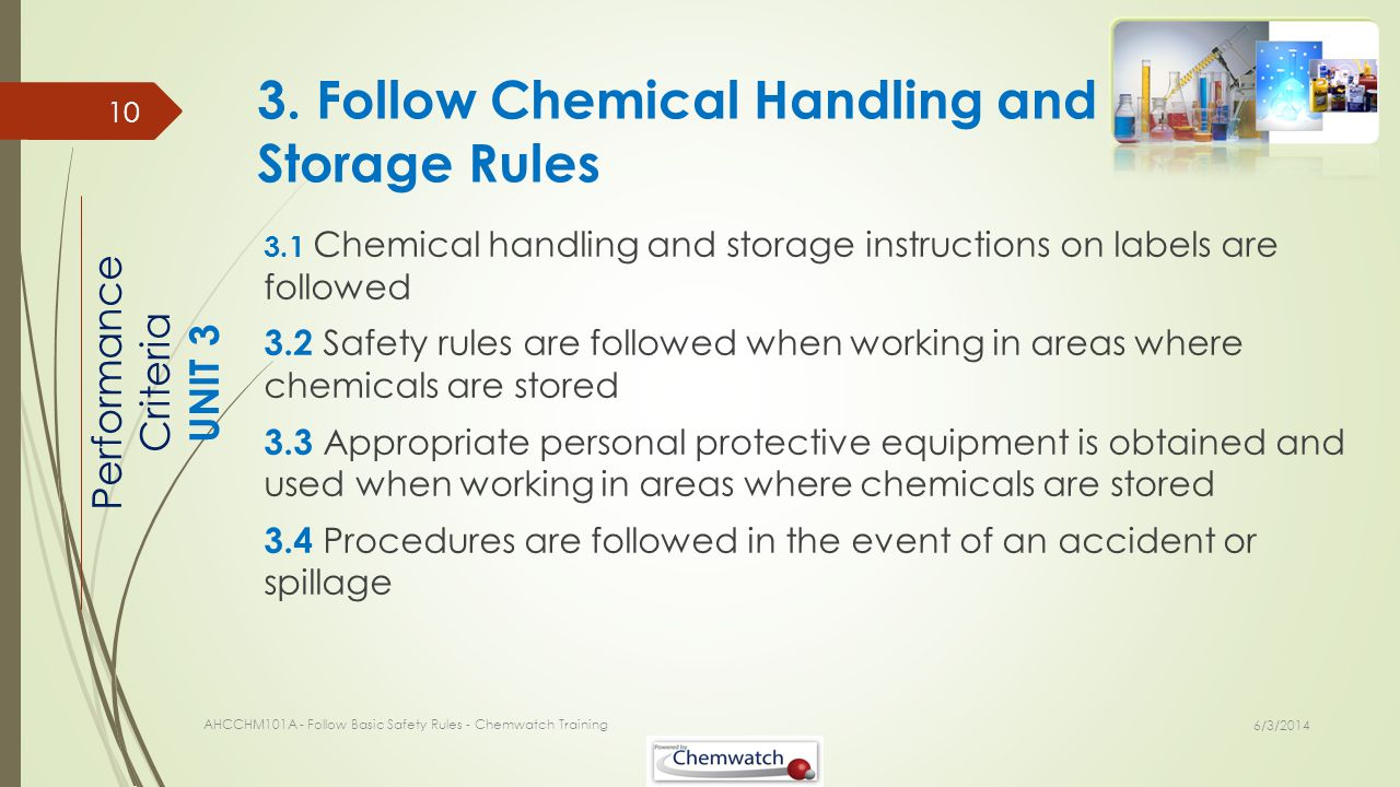 3. Follow Chemical Handling and Storage Rules
