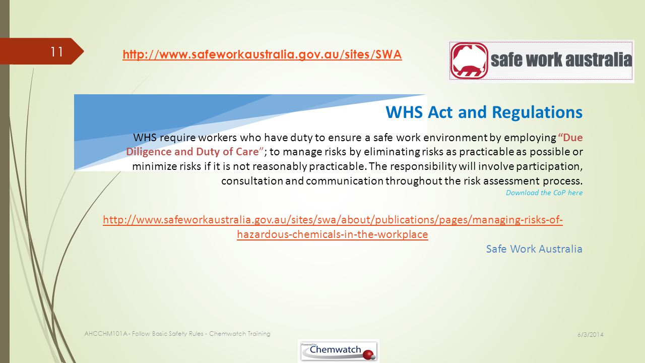 WHS Act and Regulations