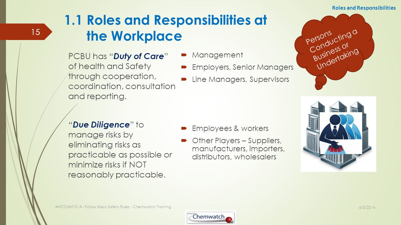 1.1 Roles and Responsibilities at the Workplace