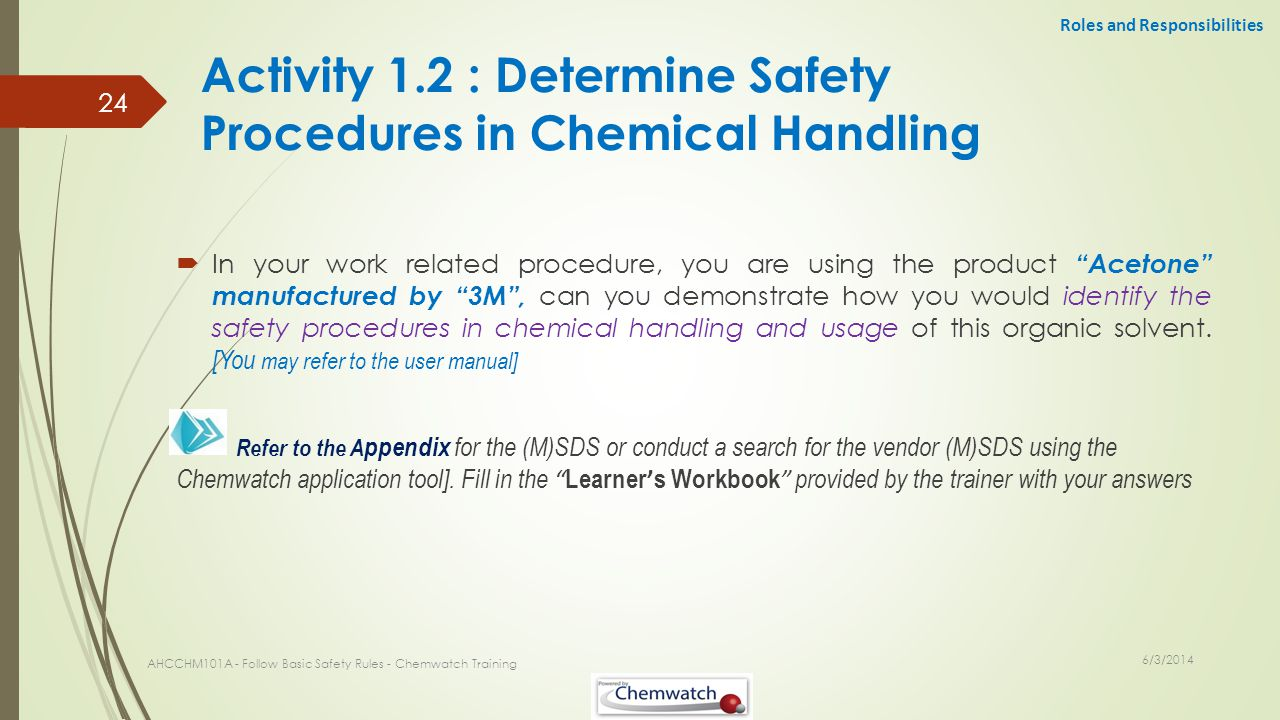 Activity 1.2 : Determine Safety Procedures in Chemical Handling