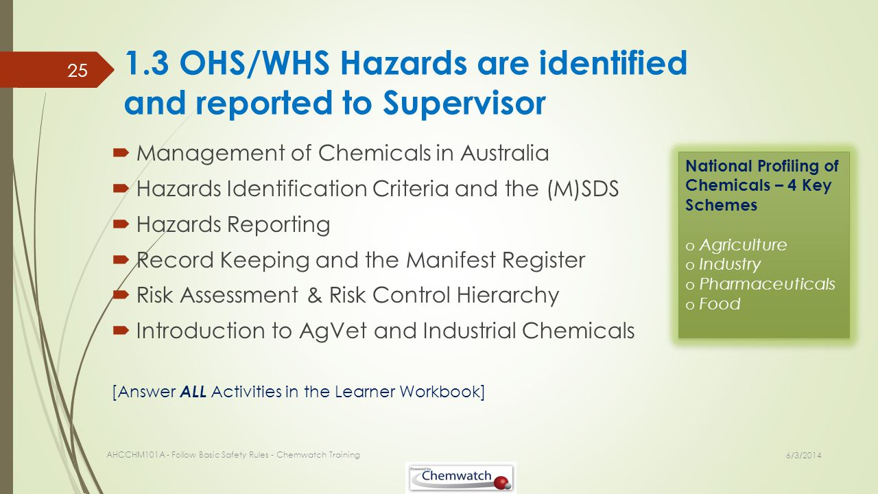 1.3 OHS/WHS Hazards are identified and reported to Supervisor