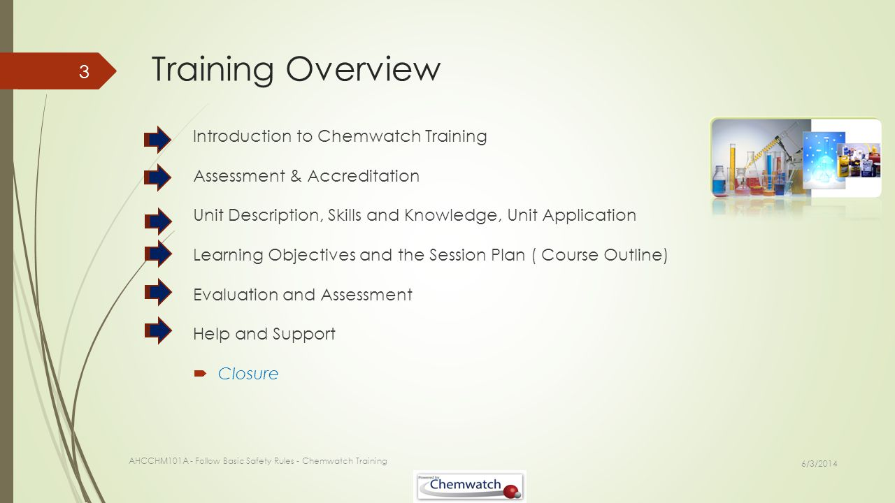 Training Overview Introduction to Chemwatch Training