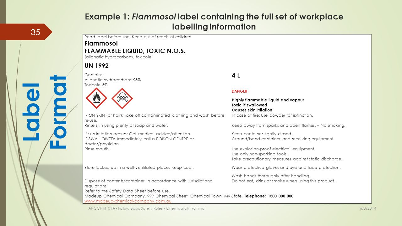 Example 1: Flammosol label containing the full set of workplace labelling information