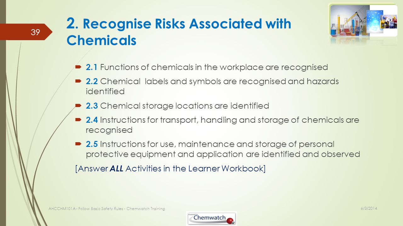 2. Recognise Risks Associated with Chemicals