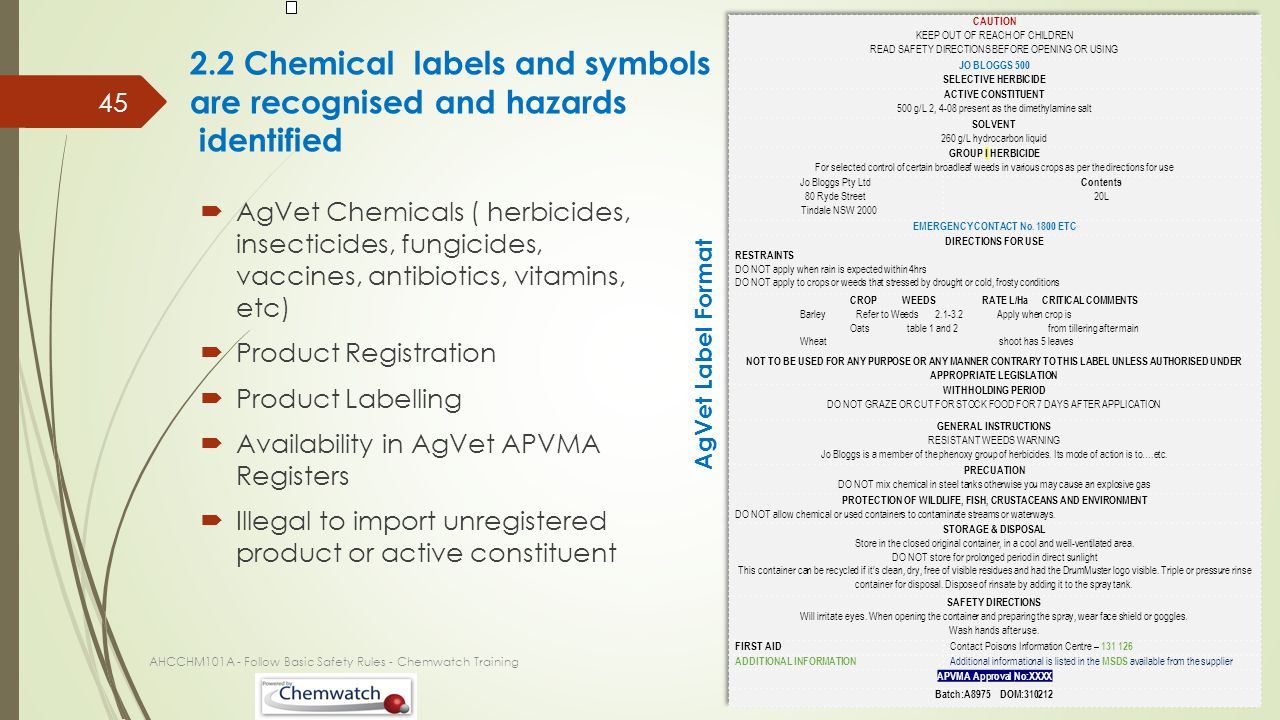 2.2 Chemical labels and symbols are recognised and hazards identified