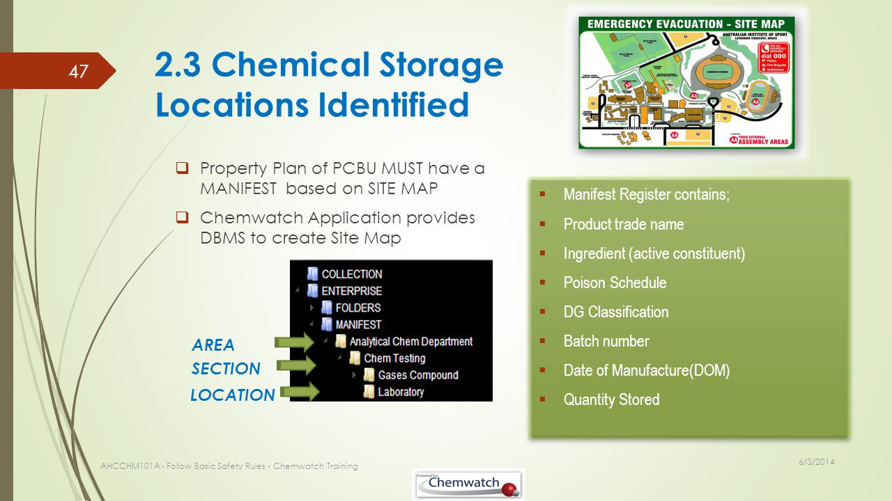 2.3 Chemical Storage Locations Identified