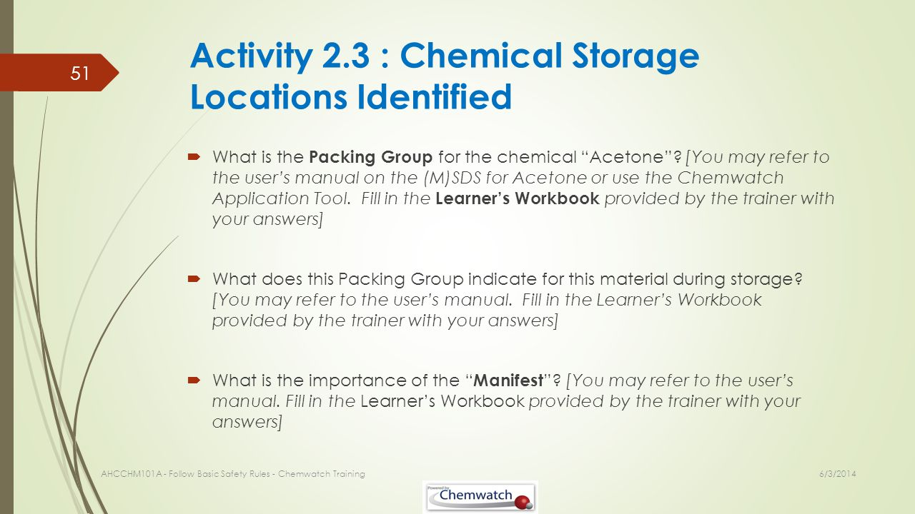 Activity 2.3 : Chemical Storage Locations Identified