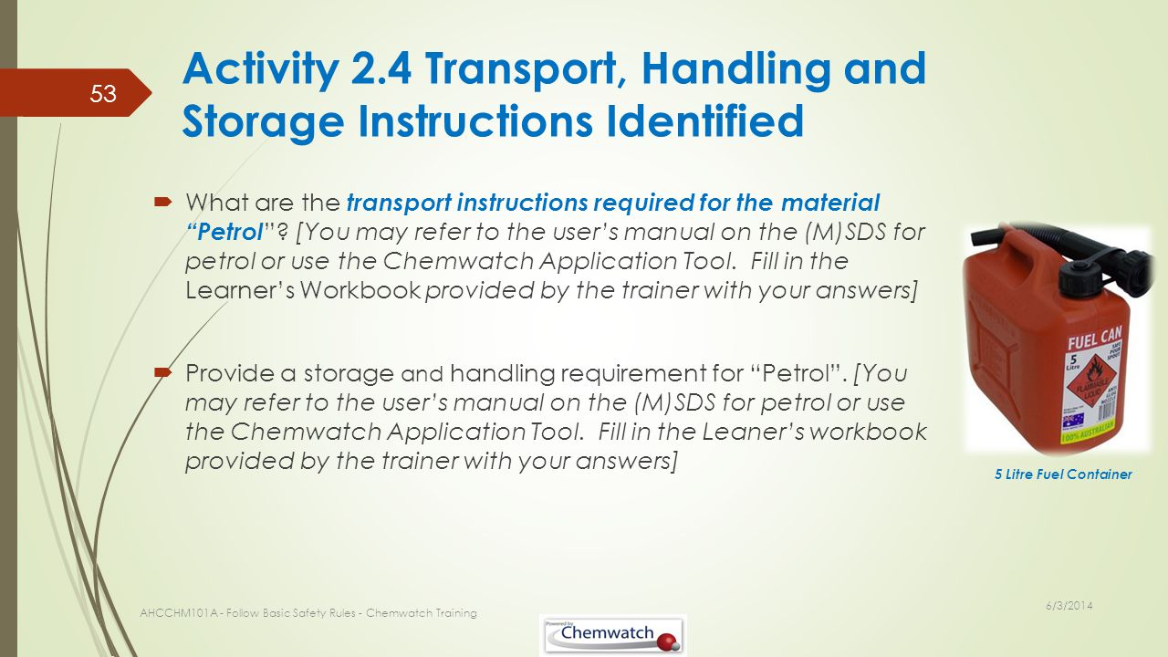 Activity 2.4 Transport, Handling and Storage Instructions Identified