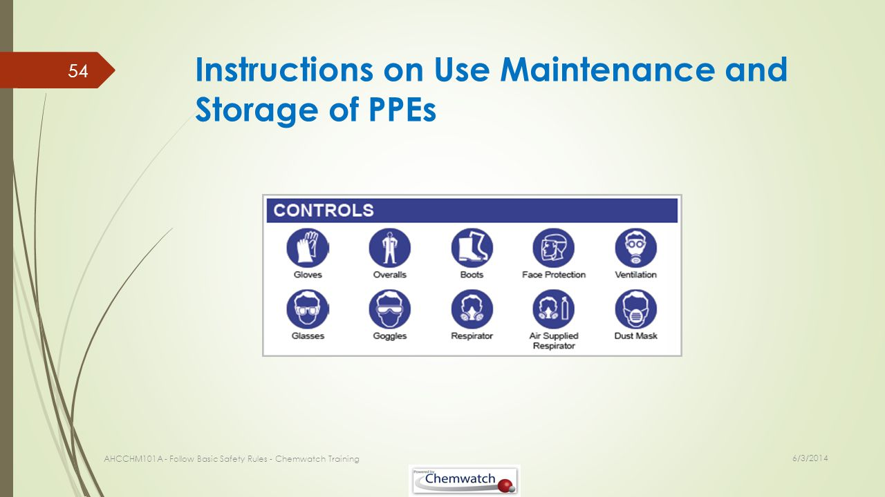 Instructions on Use Maintenance and Storage of PPEs