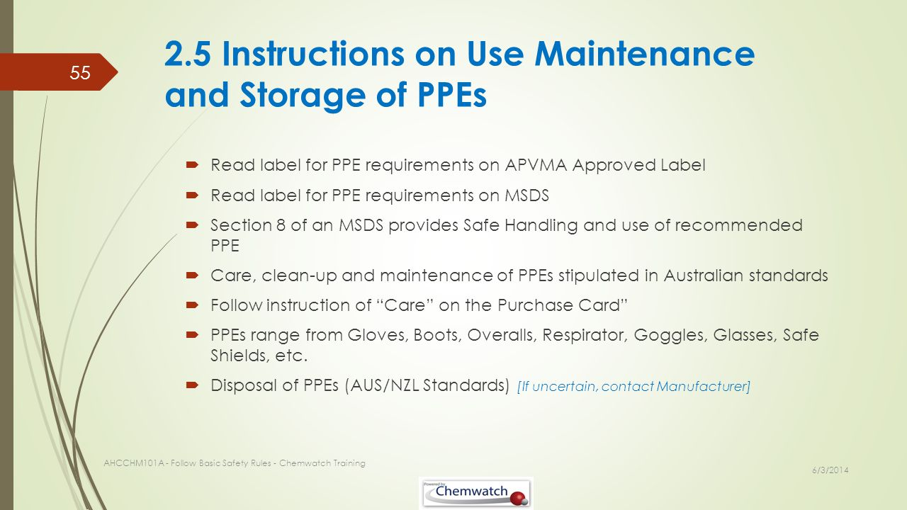 2.5 Instructions on Use Maintenance and Storage of PPEs