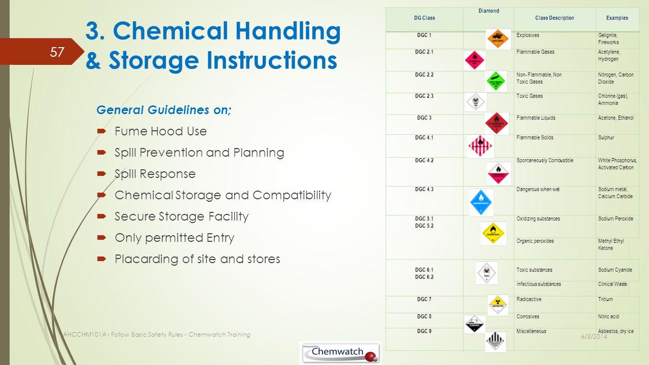 3. Chemical Handling & Storage Instructions