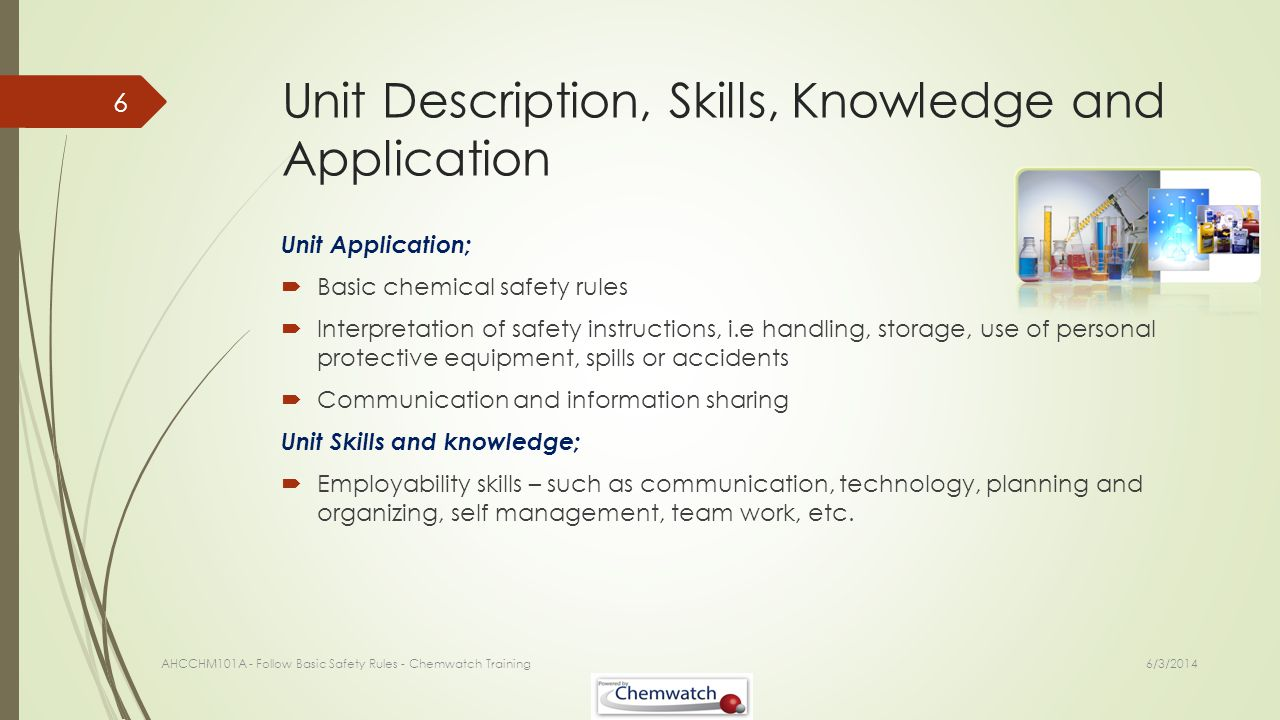 Unit Description, Skills, Knowledge and Application